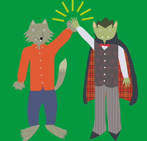 Vampire and Werewolf High Five
